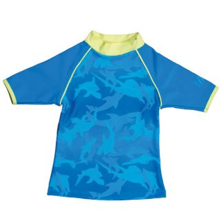 Short-sleeved Fin Frenzy Pattern rash shirt