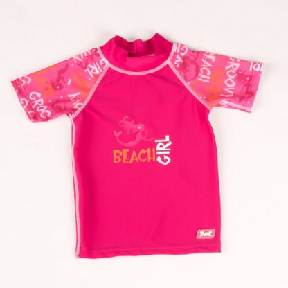 Short-sleeved Pink Graffiti rash shirt
