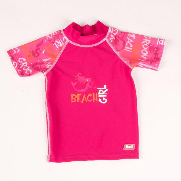 Short-sleeved Pink Graffiti rash shirt