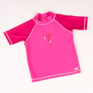 Short-sleeved Pink Mermaid rash shirt