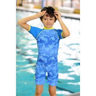 Boy in a Fin Frenzy swimsuit