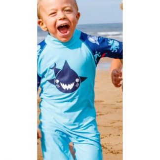 Boy wearing Turquoise Shark swimsuit