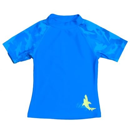 Short Sleeved Rash Shirt Fin Frenzy Blue