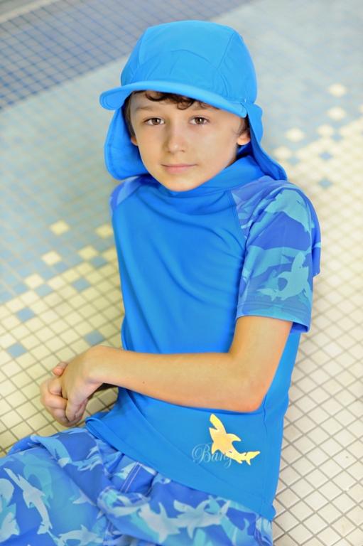 Boy in Fin Frenzy short-sleeved Blue rash shirt