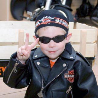Boy in Adventure Banz Black sunglasses Harley gear