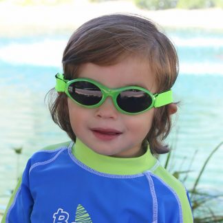 Boy in Adventure Banz sunglasses Lime Green