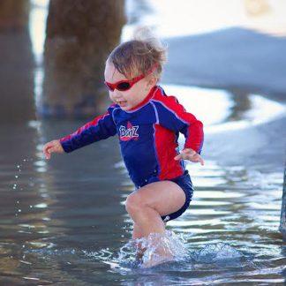 Boy in Adventure Banz Red sunglasses
