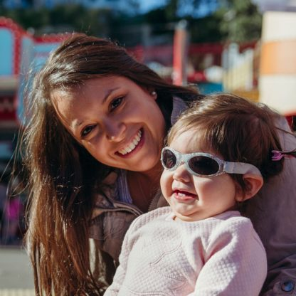 Mum with girl wearing Adventure Banz Silver Rose sunglasses