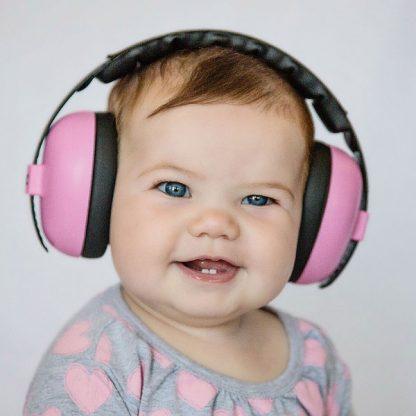 Baby wearing Pink Mini Muffs