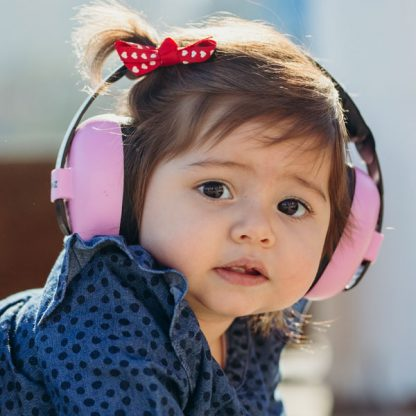 Little girl wearing Pink Mini Earmuffs