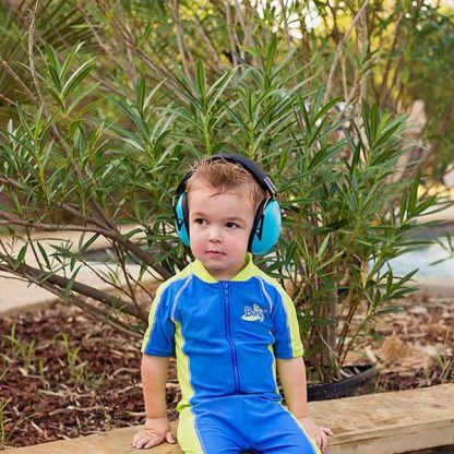 Boy in Banz Blue earmuffs