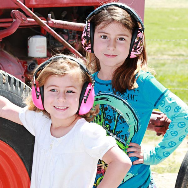 Two girls in Pink and Pink Camo earmuffs