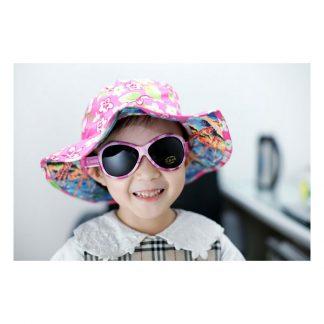 Girl wearing Retro Banz Pink Diva Matte sunglasses