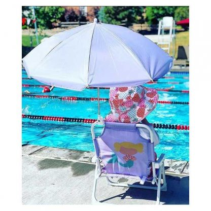 Girl in Pineapples/Pink Reversible Sunhat by pool