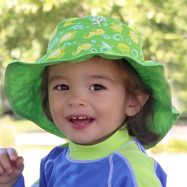 Boy in Reversible Sunhat in Lime Green