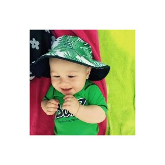 Baby in Reversible Sunhat in Tropical Forest/Navy