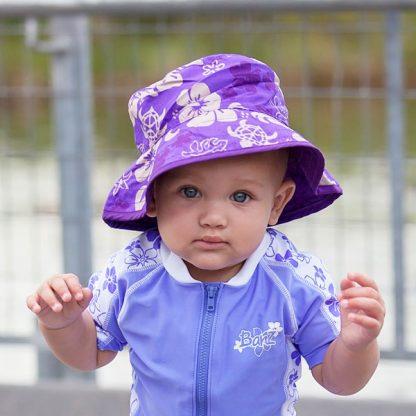 Baby wearin Turtle Purple Reversible Sunhat