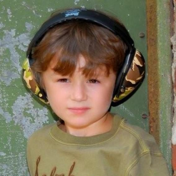 Boy in Camo Green earmuffs