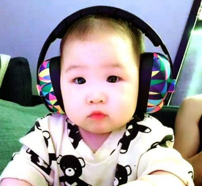 Baby in Mini Earmuffs Kaleidoscope