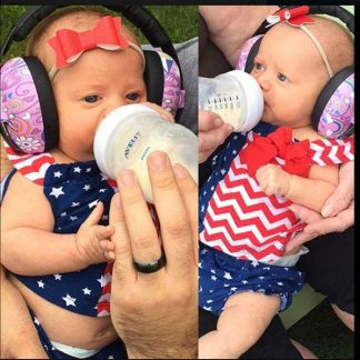 Twin babies in Mini Earmuffs Peace