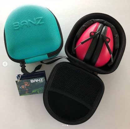 Lagoon Aqua 2-10+ years earmuffs case with Pink earmuffs
