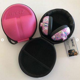 Azalea Pink under 2 earmuffs case with Peace earmuffs