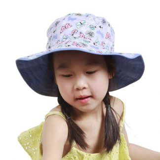 Chiuld wearing Reversible Butterfle Sunhat