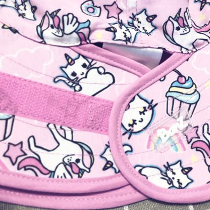 Reversible Sunhat Cats & Unicorns showing the adjustable fastening