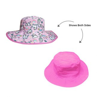 Reversible Sunhat Cats & Unicorns showing two sides