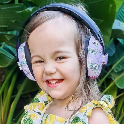 Girl wearing Banz Earmuffs for under 2 years in Butterfily