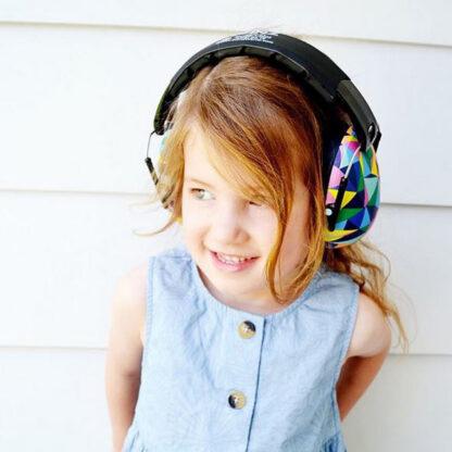 Girl wearing Banz earmuffs for 2-10+ years in Kaleidoscope