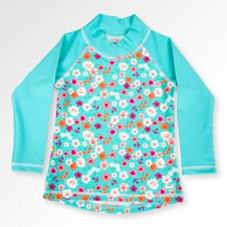 Long sleeved swimming top with a flowery pattern