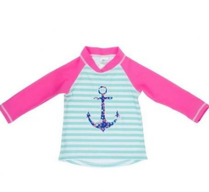 Anchor Stripe swimming top with long sleeves