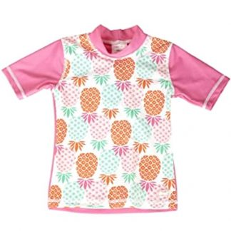 Short-sleeved swimming top in Pineapples print for girls