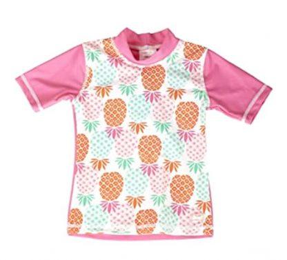 Short-sleeved swimming top in Pineapples print for girls